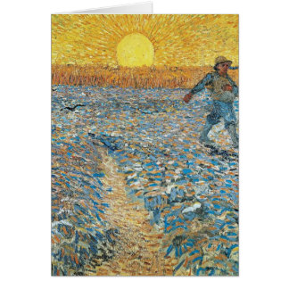 Vincent Van Gogh The Sower Painting Art Card