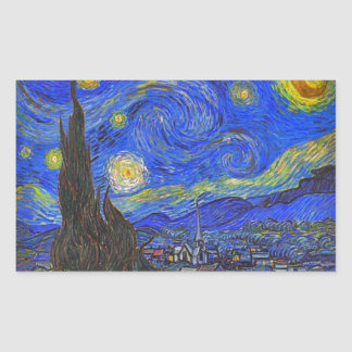 Vincent van Gogh - The Starry Night (1889) Rectangular Sticker