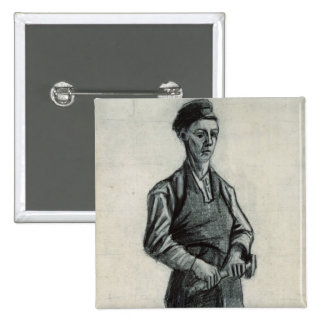 Vincent van Gogh | The Young Blacksmith, 1882 15 Cm Square Badge