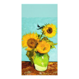 Vincent Van Gogh Three Sunflowers In A Vase Personalized Photo Card