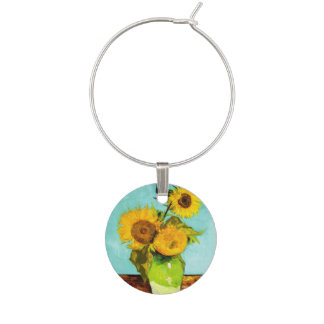 Vincent Van Gogh Three Sunflowers In A Vase Wine Charm