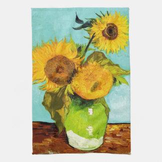 Vincent Van Gogh Three Sunflowers Tea Towel