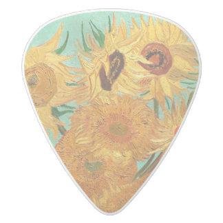 Vincent Van Gogh Twelve Sunflowers In A Vase White Delrin Guitar Pick