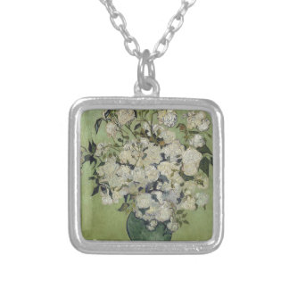Vincent Van Gogh Vase of Roses Painting Floral Art Silver Plated Necklace