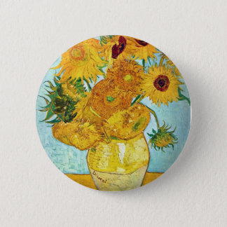 Vincent van Gogh - Vase with 12 Sunflowers 6 Cm Round Badge