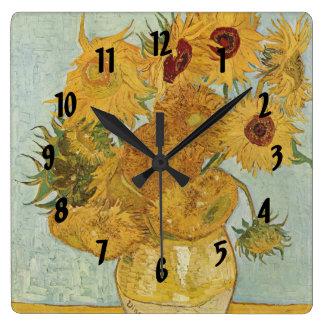 Vincent Van Gogh Vase With 12 Sunflowers Wallclocks