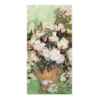 Vincent Van Gogh Vase With Pink Roses Floral Art Photo Greeting Card
