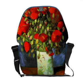 Vincent Van Gogh Vase With Red Poppies Floral Art Messenger Bags