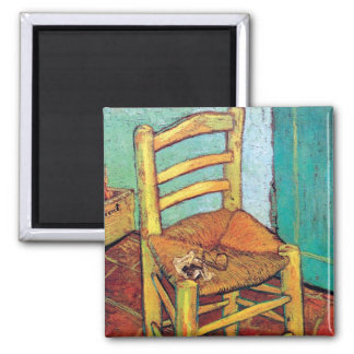 Vincent Van Gogh - Vincent's Chair With Pipe Square Magnet
