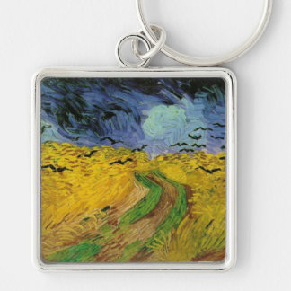 Vincent van Gogh Wheat Field Threatening Skies Silver-Colored Square Key Ring