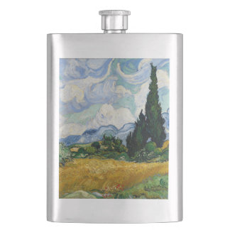 Vincent Van Gogh Wheat Field With Cypresses Hip Flask