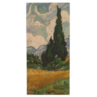 Vincent Van Gogh Wheat Field With Cypresses Wood USB 2.0 Flash Drive