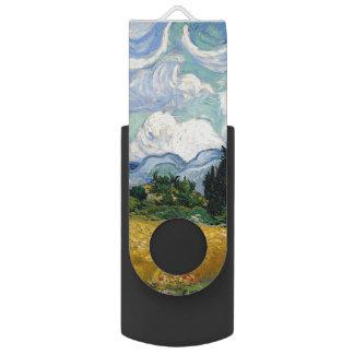 Vincent Van Gogh Wheat Field With Cypresses Swivel USB 2.0 Flash Drive