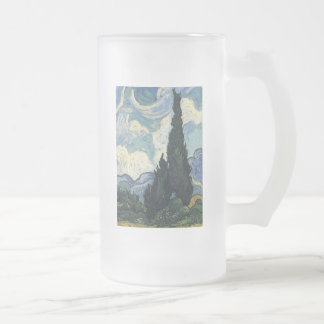 Vincent van Gogh Wheat Fields With Cypresses Frosted Glass Mug