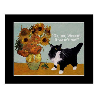 Vincent Van Gogh's naughty cat Poster