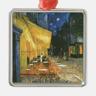 Vincent van Gogh's The Cafe Terrace Silver-Colored Square Decoration