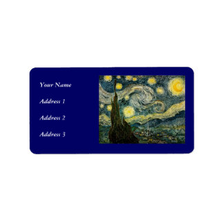 Vincent van Gogh's The Starry Night (1889) Address Label