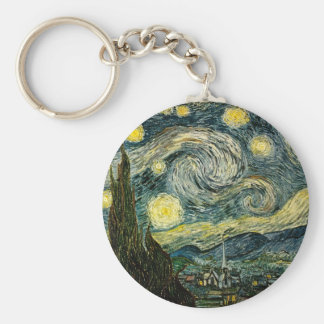 Vincent van Gogh's The Starry Night (1889) Basic Round Button Key Ring