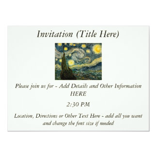 Vincent van Gogh's The Starry Night (1889) 17 Cm X 22 Cm Invitation Card