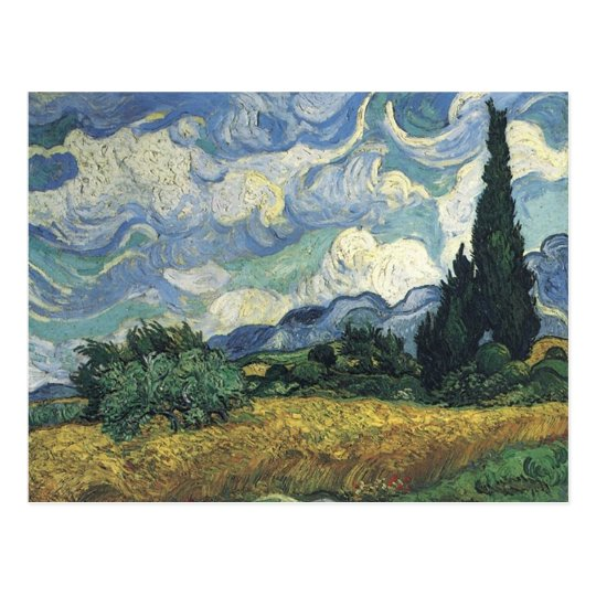 Vincent van Gogh's Wheat Fields With Cypresses Postcard