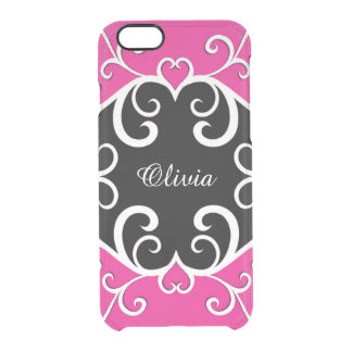 Vine Heart on Hot Pink and Black Clear iPhone 6/6S Case