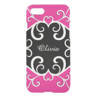 Vine Heart on Hot Pink and Black iPhone 7 Case