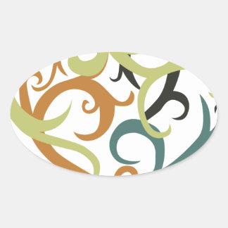 vine heart tribal oval sticker