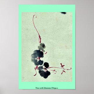 Vine with blossoms Ukiyo-e. Poster