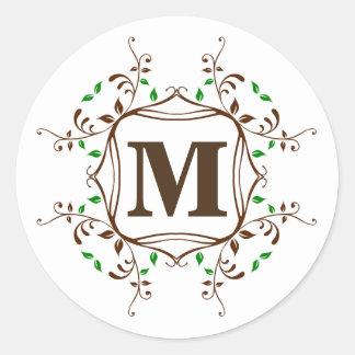 Vines Floral Wreath Monogram Seal Sticker