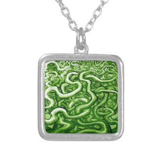 Vines GREEN Silver Plated Necklace