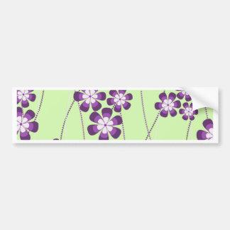 Vines of Purple flowers on Green Bumper Sticker