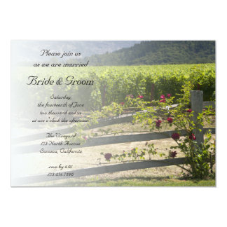 Vineyard and Rose Fence Wedding Invitation