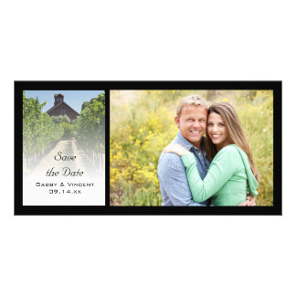 Vineyard and Rustic Red Barn Wedding Save the Date Customised Photo Card