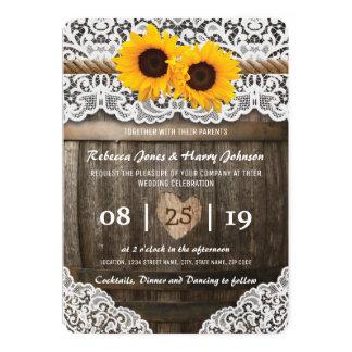 Vineyard Barrel Wedding Card   Rustic Sunflower