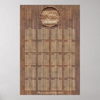 Vineyard Barrel Wedding Seating Chart 160 guests