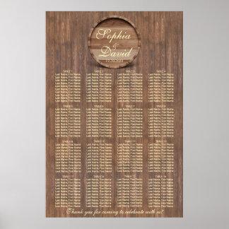 Vineyard Barrel Wedding Seating Chart 16 tables