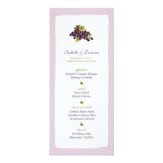 Vineyard Grapes Wedding Menu Card