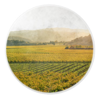 Vineyard in Autumn in Napa Valley California Ceramic Knob