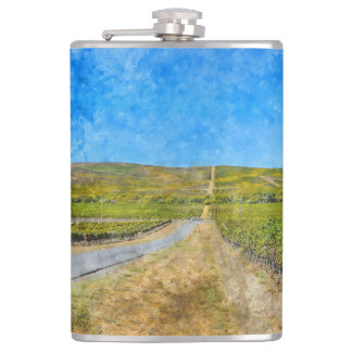 Vineyard in Napa Valley California Hip Flask