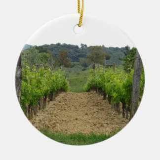 Vineyard in spring . Tuscany, Italy Ceramic Ornament