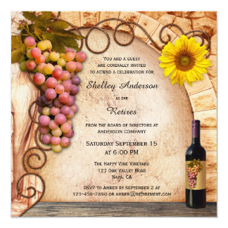 Vineyard or Wine Theme Retirement Party Invitation