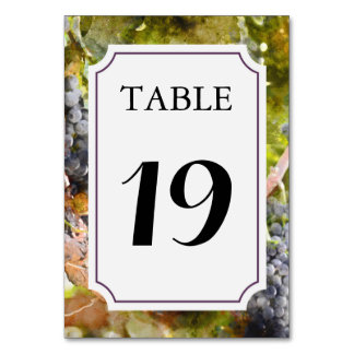 Vineyard or Winery Table Number Card