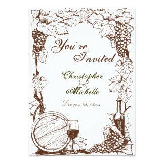 Vineyard Winery Grape Vines Sketch Wedding Card