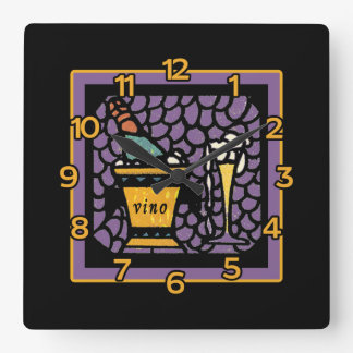 VINO Wall Clock in Stained Glass Look Art