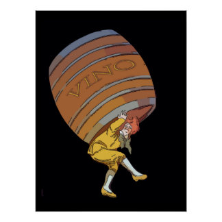 Vino Wine Barrel Poster