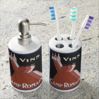 """VINS""  VINTAGE WINE ADVERTISEMENT PRINT BATHROOM SET"