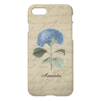 Vintaage Calligraphy Blue Hydrangea Custom Name iPhone 8/7 Case