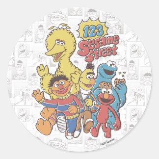 Vintage 123 Sesame Street Classic Round Sticker