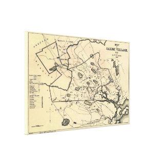 Vintage 1692 Map of Salem Massachusetts (1866) Canvas Print