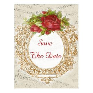 Vintage 16th Birthday Red Rose Frame Music Sheet Post Card
